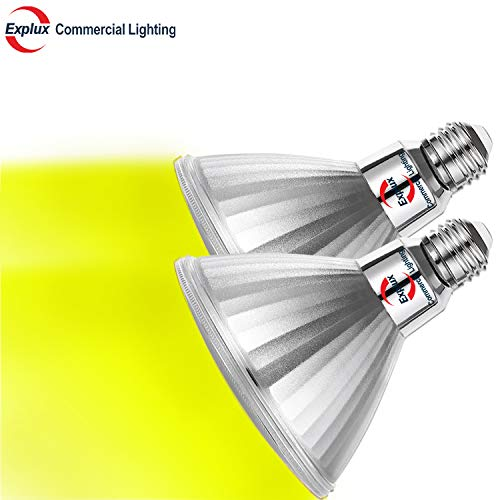 - Explux Dimmable Yellow Color PAR38 LED Bug Light Bulbs, Classic Full-Glass, Indoor/Outdoor, 14W (120W Equivalent), 2-Pack