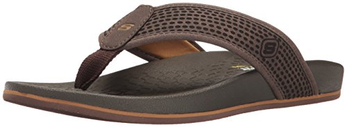 Skechers USA Men's Pelem Emiro Flat Sandal, Dark Brown, 11 M US by Skechers