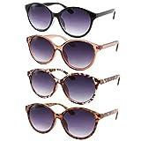 4 Pack - Women's Bi-Focal Sunglasses Fashion Cat Eye Sunreaders Bifocal Reading