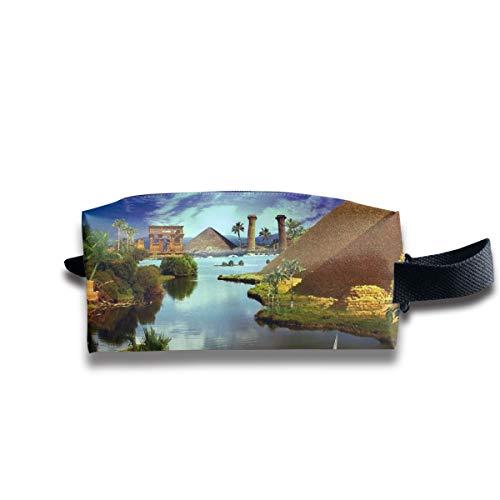 (V5DGFJH.B Clash Durable Zipper Wallet Makeup Handbag with Wrist Band Pyramids of Egypt Toiletry Bag)