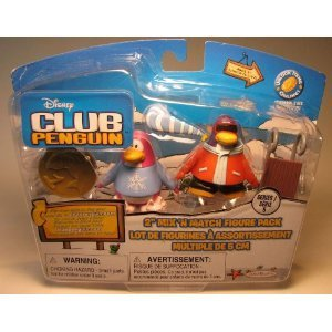 Club Penguin 2' Mix - Disney Club Penguin 2'' Mix 'N Match Figure Pack - PJ BUNNY SLIPPERS & SNOWBOARDER