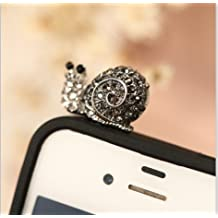 Big Mango Cute Crystal Rhinestone Snail Anti Dust Plug Stopper / Ear Cap / Cellphone Charms for Apple iPhone 5 5c 5s iPhone 4 4s ,iPad Mini iPad 2 ,iPod Touch 5 4,Samsung Galaxy S3 S4 Note3 Note 2,HTC and Other 3.5mm Earphone Jack Phones ( Smoke Black )