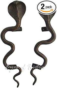 A Pair Antiqued Brass Snake Door Handles//Cabinet Pulls