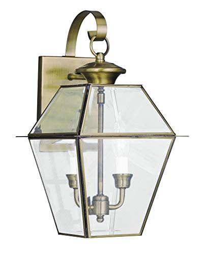 - Livex Lighting 2281-01 Westover 2-Light Outdoor Wall Lantern, Antique Brass