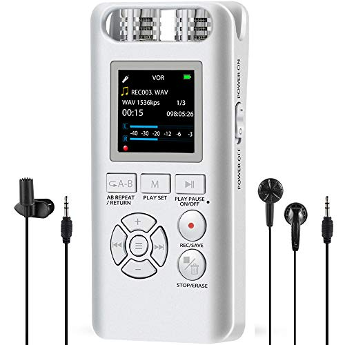Digital Voice Recorder for Lectures - Aomago 8GB Voice Activated Recorder Portable Dictaphone Sound Audio Recording Device Support Line in, External - External Line