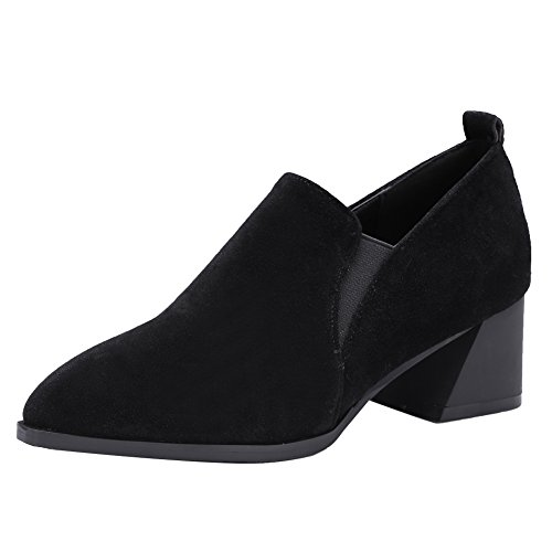 Latasa Womens Pointed-toe Chunky Heels Slip on Faux Suede Loafers Shoes Black Ik4yd5b3Q1