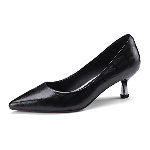 Ladies Stiletto Kitten Heels Womens Court Shoes Pumps Casual Work Office Comfy Slip On Shoe Low Mid Heel(Red,Black) Black