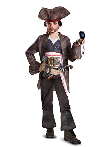 Disguise POTC5 Captain Jack Sparrow Deluxe Costume,  Multicolor,  Large (10-12) ()