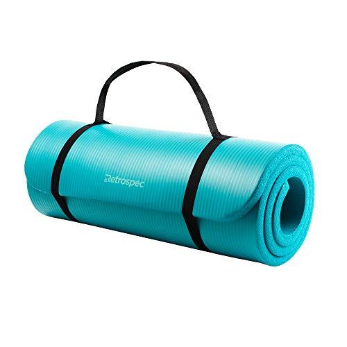 """Retrospec Solana Yoga Mat 1"""" Thick w/Nylon Strap for Men & Women - Non Slip Excercise Mat for Yoga, Turquoise, 1 inch"""