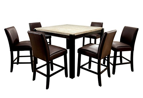 HOMES: Inside + Out Matson Square Counter Height 7 Piece Dining Set, Ivory & Dark Walnut