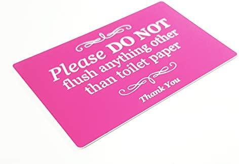 Tanque s/éptico ba/ño Elegante se/ñal autoadhesiva Rosa Placa para Inodoro por Favor no Enjuague Nada m/ás Que Papel higi/énico. W.C