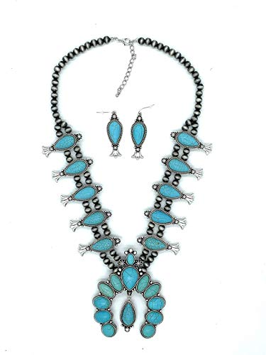 Jayde N' Grey Turquoise Squash Blossom Navajo Bohemian Womens Southwestern Statement Choker Necklace & Earrings Bundle: Set & Jewelry Bag (Turquoise Dangle ()