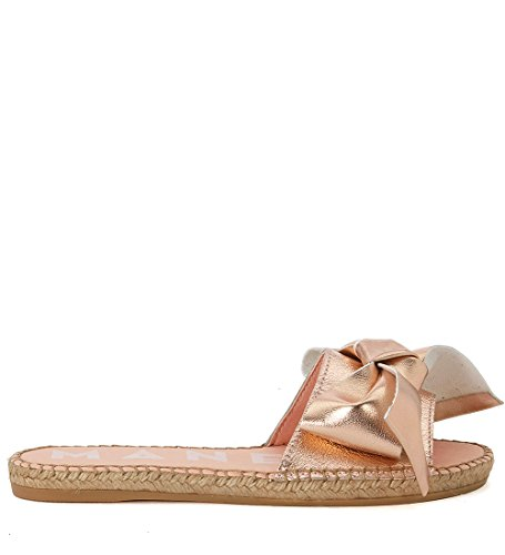 5f6b83e12 Manebí Women s Versailles Pink Metal Leather and Jute Slippers 37(IT)-7(