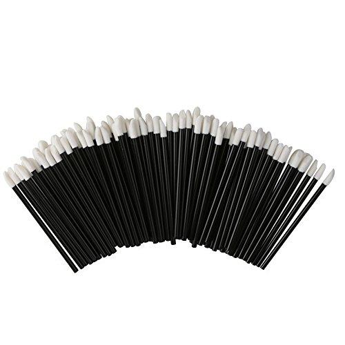 Shintop Disposable MakeUp Lip Brush Lipstick Gloss Wands Applicator Perfect Make Up Tool (100pcs black)