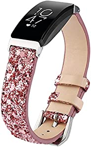 Inspire HR Bling Leather Band, TWBOCV Glitter Watch Bands with Metal Buckle Strap Bling Quick Release Wristban