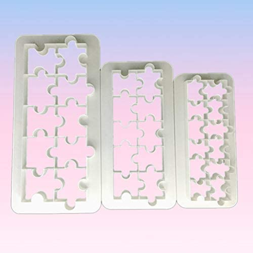 BESTONZON 3個フォンダンモールド食品グレードプラスチックケーキ型幾何学パズルフォンダンビスケットカッター