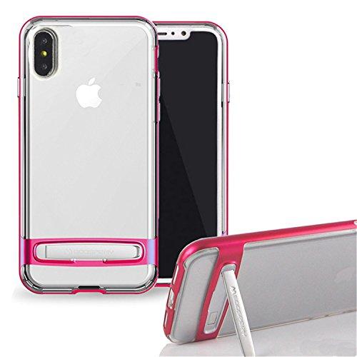 Funda iPhone X, [Ultra Slim] GOOSPERY Hybrid Dream Bumper Case [Kickstand] Resistente a impactos [Air Pocket Corner Protection] TPU / PC [Doble Capa] Funda para iPhone X Transparente (iPhone X, Rosa c Rosa caliente
