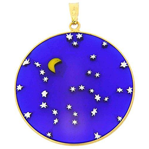 - GlassOfVenice Murano Glass Millefiori Pendant Starry Night in Gold-Plated Frame 1-