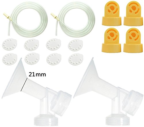 Nenesupply Pump Parts for Medela Pump In Style Breastpump 2 Small 21mm Breastshield 4 Valve 8 Membrane 2 Tubing Not Original Medela Pump Parts Not Original Medela Breastshield Replace Medela Tubing