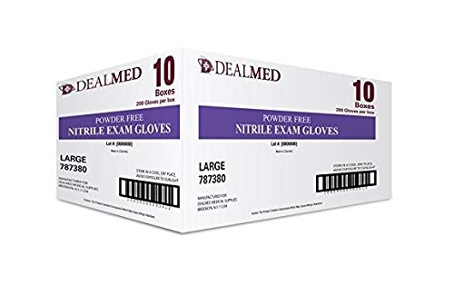 Dealmed Brand Nitrile Medical Grade Exam Gloves, Disposable, Latex-Free, 2000 Count, Size Large from Dealmed