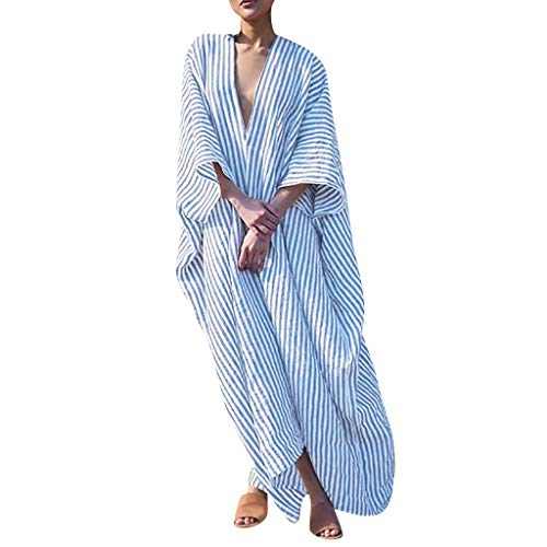 (Outique Women Dress, Womens Holiday Ladies Summer V Neck Pomisi Backless Beach Party Bohemia Dress Blouse Blue)