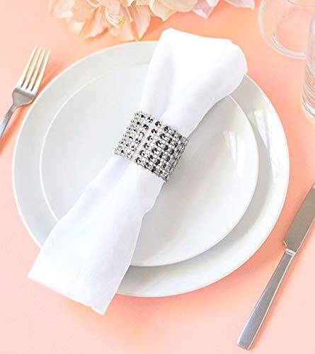 Rhinestone Napkin Rings 100PCS - Silver for Wedding Decorations Birthday Bachelorette Party Banquet Supply Baby Bridal Shower Kitchen Table Dinner- DIY Chairs Sash Bows Tablecloth Cloth Paper Napkins