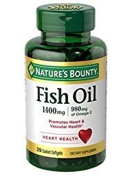 Nature\'s Bounty Fish Oil 1400 mg Triple Strength One-Per- Day Odorless, 39 Softgels
