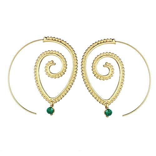 (Becoler Spiral Heart Earrings Charm Vintage Women Earrings Gold)