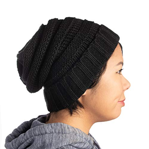 DG Hill Winter Hat For Women, Slouchy Beanie Hat, Chunky Knit, Ribbed Lightweight Soft Warm & Cute For Ladies & Teen Girls, Holiday Or Christmas Gift , Black , One Size