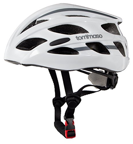 Tommaso Aria Ultra Lightweight Cycling Bike Helmet (188 grams), Road & Mountain Biking, Adjustable Fit, Fully Certified Safety Protection For Adult Men & Women and Youth - Gloss White - Large