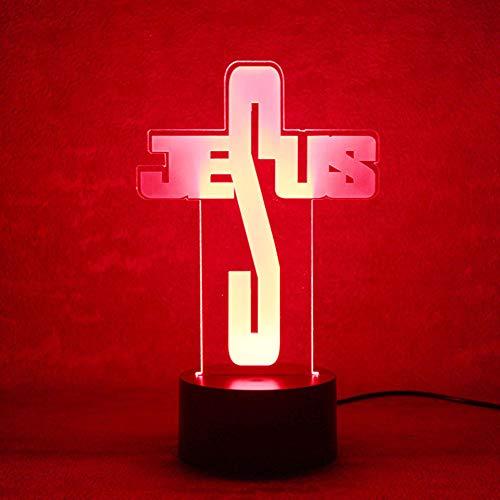 DFDLNL Creativo 3D USB Led Visual Iluminacion del hogar Jesus Modelado NightLight Lampara de Mesa Decoracion para ninos Dormitorio Cabecera Carta Iluminacion