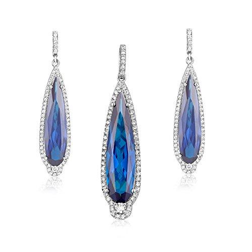 Parure : Pendentif et Boucles d'oreilles Tourmaline Bleue et Cristaux Swarovski Cubic Zirconia -Blue Pearls-CRY J600 X
