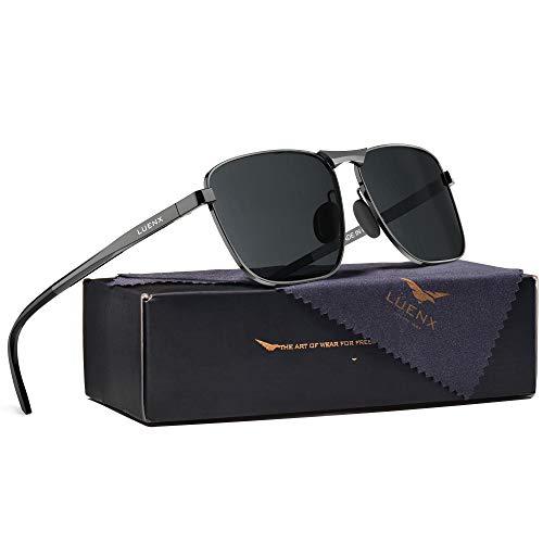 LUENX Rectangular Polarized Sunglasses Square Retro 100% UV protection Gunmetal Frame Black Non-mirror Lens,Without zipper case