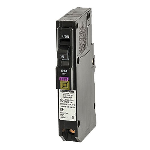 Mount Single Circuit - Square D by Schneider Electric QO QO115PDF Plug-In Mount 15 Amp Single-Pole Dual Function (CAFCI and GFCI) Circuit Breaker