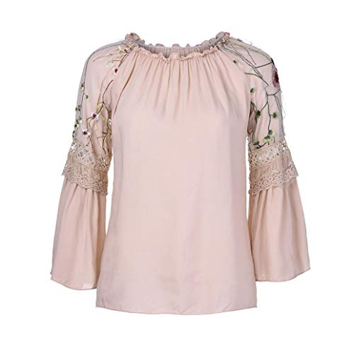 Florale Femmes Dentelle Trompette Tops Blouse Rond Col Rose Broderie AIMEE7 Chemisier AcR4WH5
