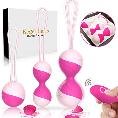 4-in- 1 Kegel Balls for Women Tightening Kegel Exercise Weight - 10 Vibration Remote Controlled,Ben Wall Balls for Beginners -Dr Recommended for Bladder Control & Pelvic Floor (Red Rose