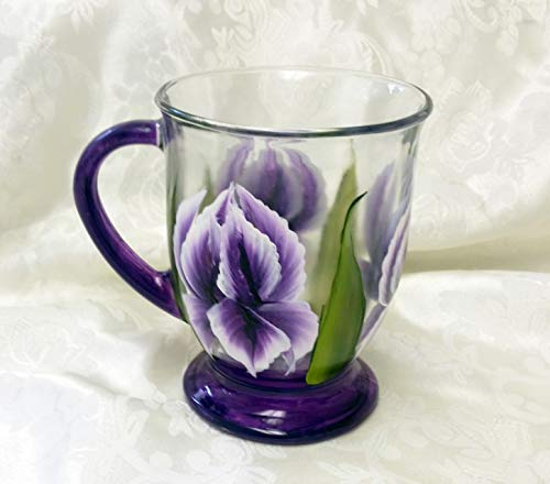 Hand Painted Iris Glass Coffee Mug