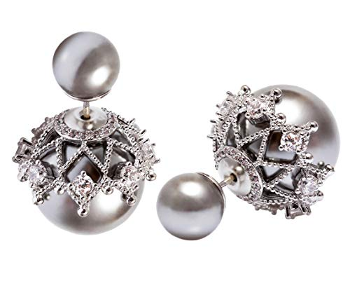 MISASHA Rhinestone Grey Imitation Pearl Double Ball Celebrity Designer Earrings For Women ()
