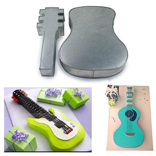- Two Piece Large Guitar Shape Cake Tin Pan for Birthday Novelty Fun Cake Mould Length 9