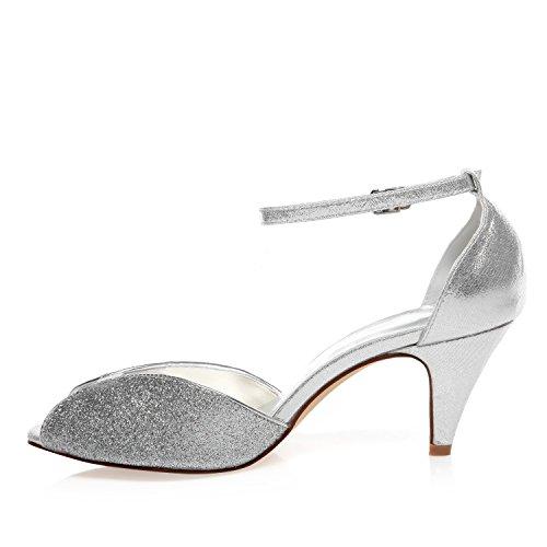 5949422 JIA Absatz Brautschuhe Silber Kegel Sparkling JIA Hochzeitsschuhe Toe Damen Peep Pumps Glitter q6tnfw