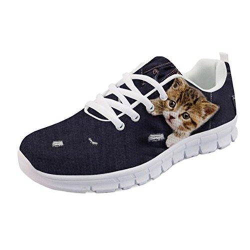 Denim Color Shoes Women's Running 5 Showudesigns Sneakers Fashion Animal Sport Design Yq7gUFw