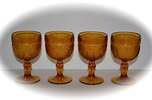 - Vintage Set of Four Tiara Indiana Glass Sandwich Pattern Goblets