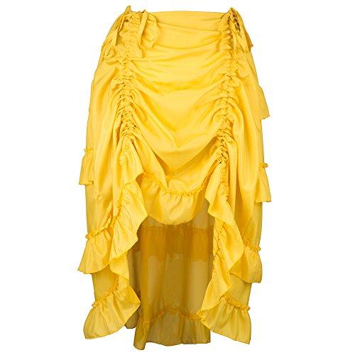 Alex sweet Brown Adjustable Ruffle Asymmetric Vintage Gothic Skirt Plus Size Steampunk Corset Skirt Long for Women S-6XL (L, Yellow)]()