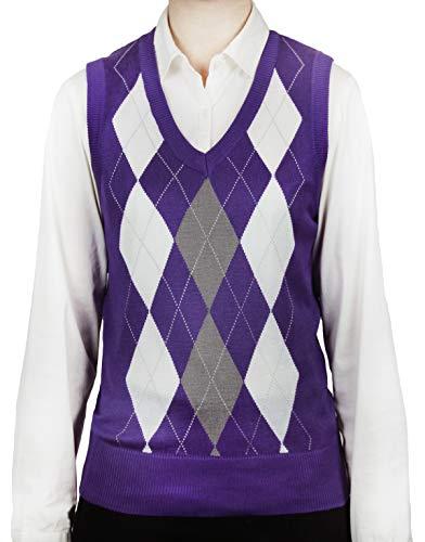 (Blue Ocean Ladies Golf Argyle Sweater Vest-Medium)