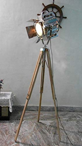 THORINSTRUMENTS Thor Instruments.Co Thor Nautical 1950'S Hollywood Studio Vintage Design Industrial Tripod Floor Lamp Silver