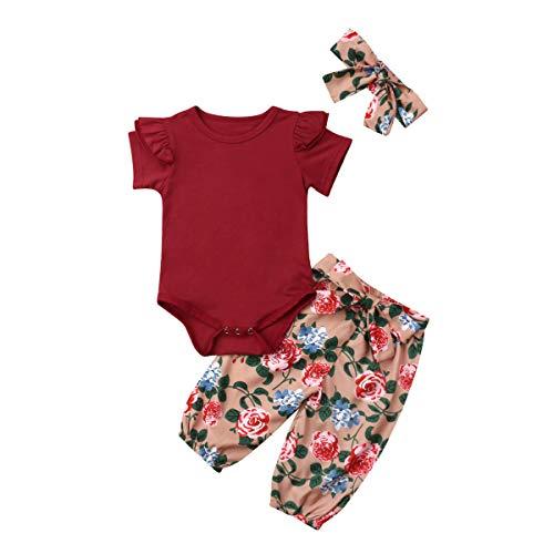 3PCS Clothes Set Newborn Toddler Baby Girl Romper Bodysuit Jumpsuit Floral Halen Pants Outfit Clothes (6-9 Months, Maroon)