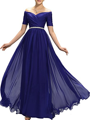 Lily Wedding Womens Beaded Off Shoulder Prom Bridesmaid Dresses 2018 Long Formal Evening Ball Gowns TB32 Size 2 Royal Blue