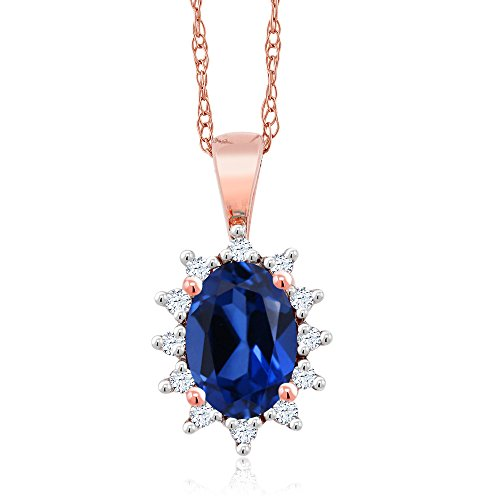 18K Rose Gold 0.58 Ct Oval Blue Simulated Sapphire White Diamond Pendant