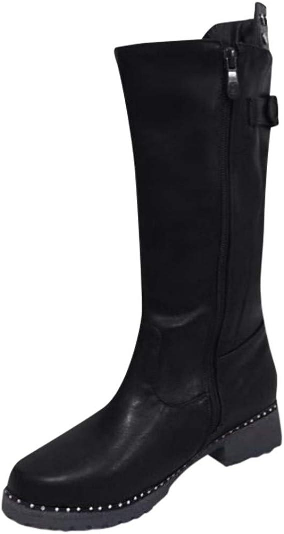 Luckycat Botas de Cuero Botas Mujer Moteras Bota Zapatos de Caña ...
