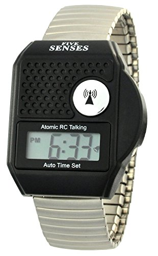 TimeChant Atomic Talking Watch - Five Senses Top Button LCD Atomic Talking Watch (1095)
